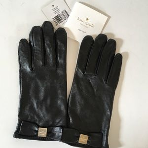 NEW Kate Spade Black Leather Gloves Size XS